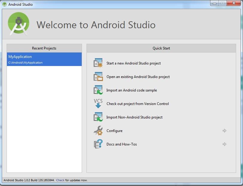 Начальное окно Android Studio